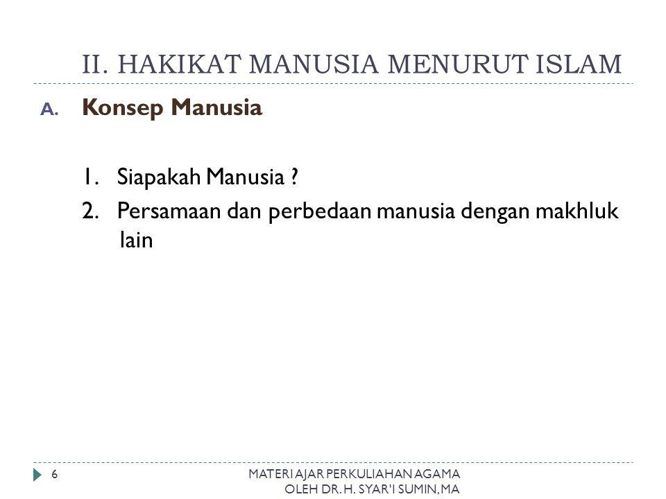 II. HAKIKAT MANUSIA MENURUT ISLAM
