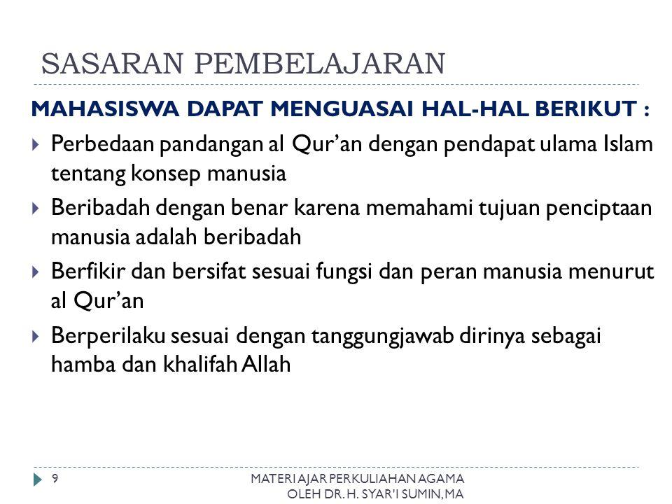 SASARAN PEMBELAJARAN MAHASISWA DAPAT MENGUASAI HAL-HAL BERIKUT : Perbedaan pandangan al Qur'an dengan pendapat ulama Islam tentang konsep manusia.