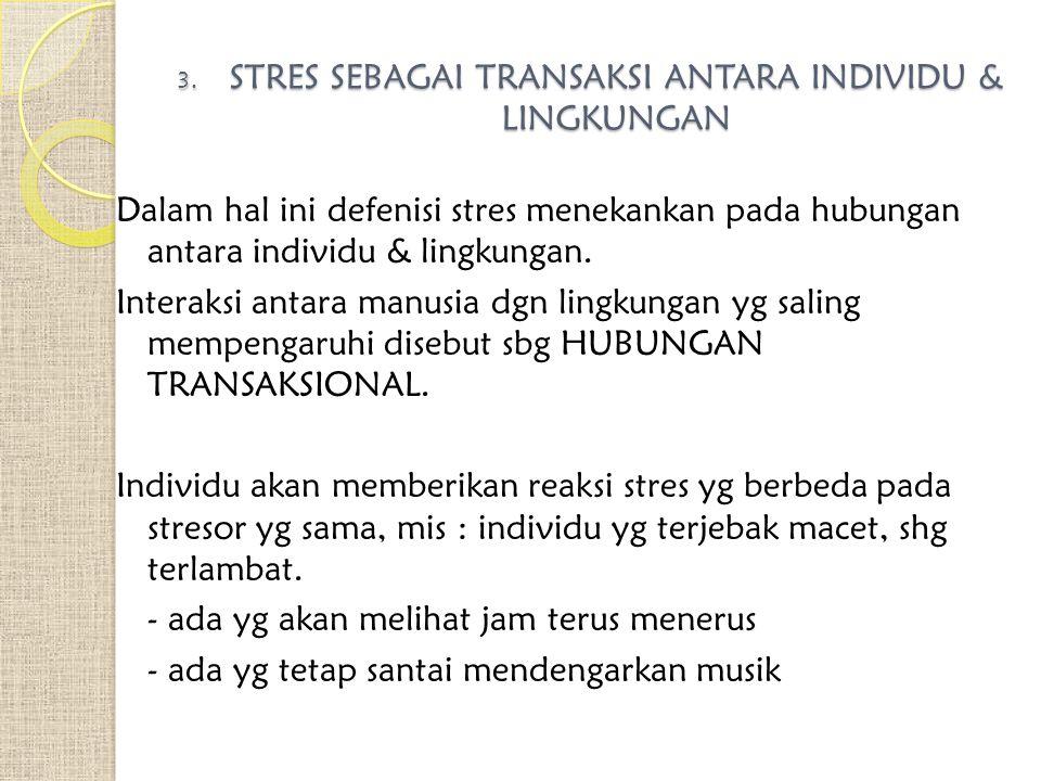STRES SEBAGAI TRANSAKSI ANTARA INDIVIDU & LINGKUNGAN