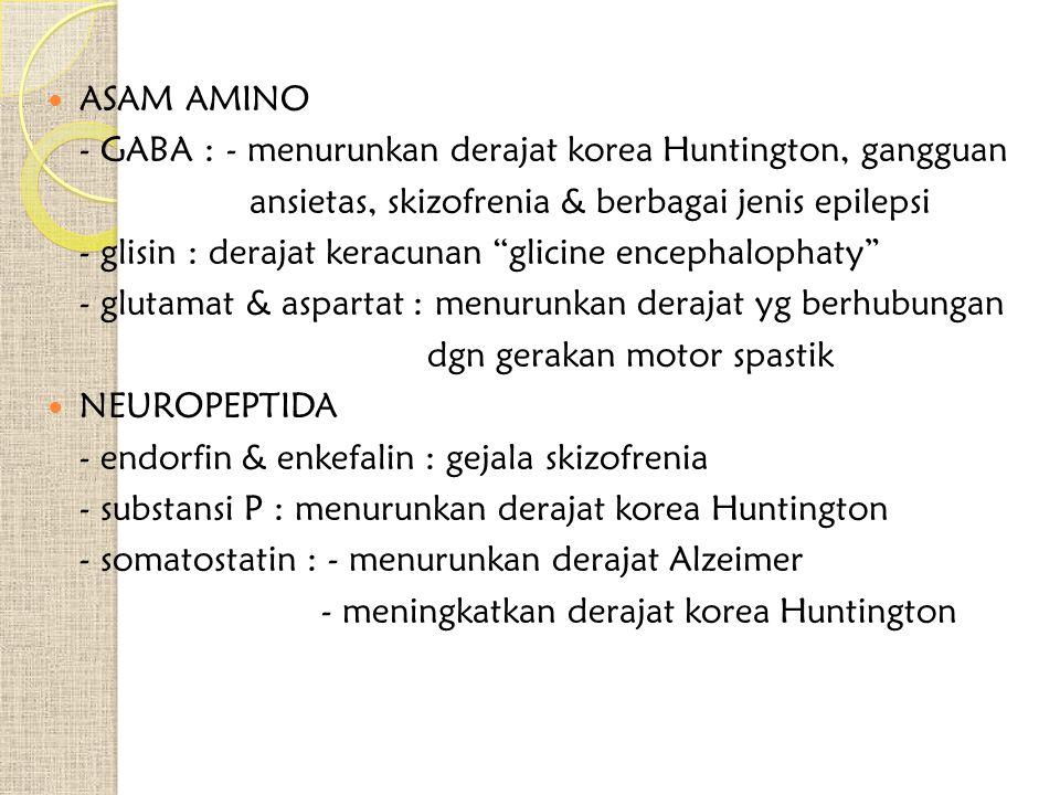 ASAM AMINO - GABA : - menurunkan derajat korea Huntington, gangguan. ansietas, skizofrenia & berbagai jenis epilepsi.