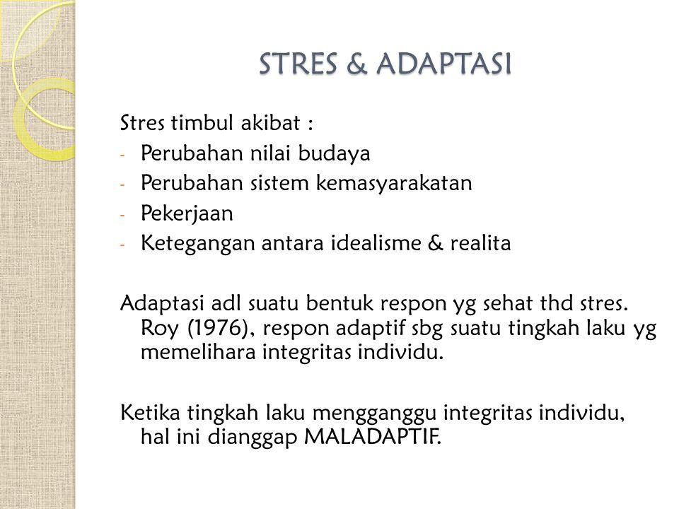 STRES & ADAPTASI Stres timbul akibat : Perubahan nilai budaya