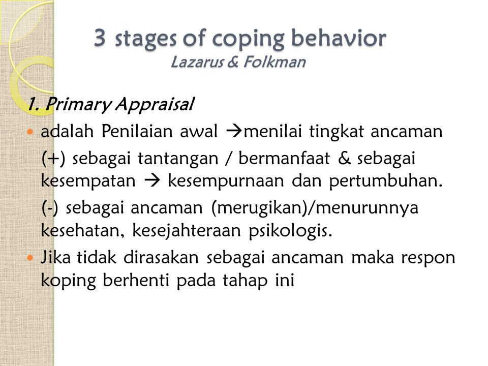 3 stages of coping behavior Lazarus & Folkman