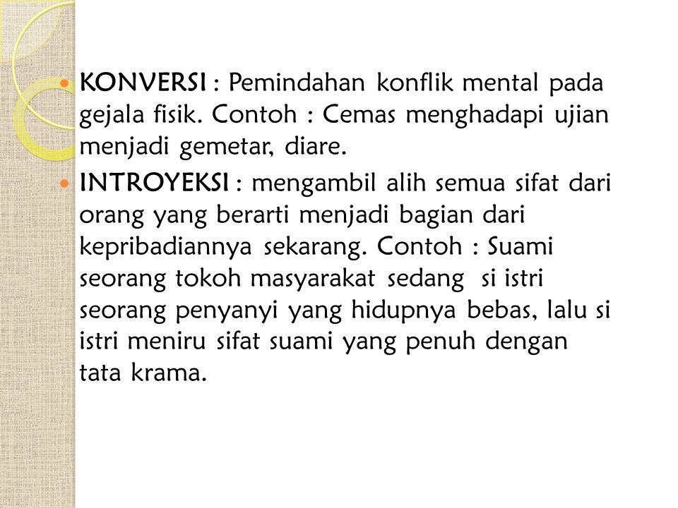 KONVERSI : Pemindahan konflik mental pada gejala fisik