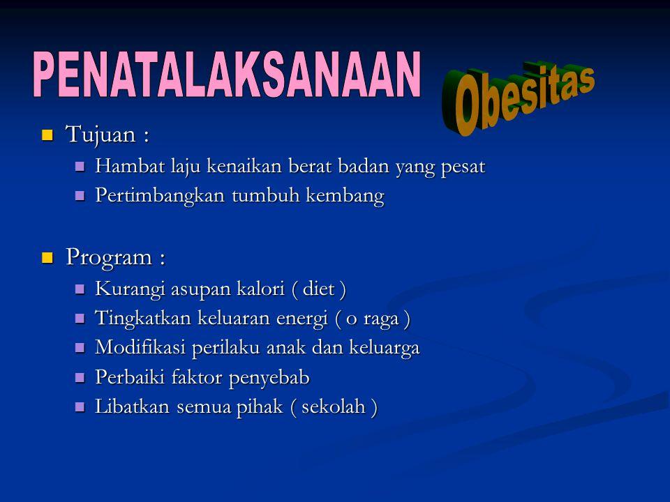 PENATALAKSANAAN Obesitas Tujuan : Program :