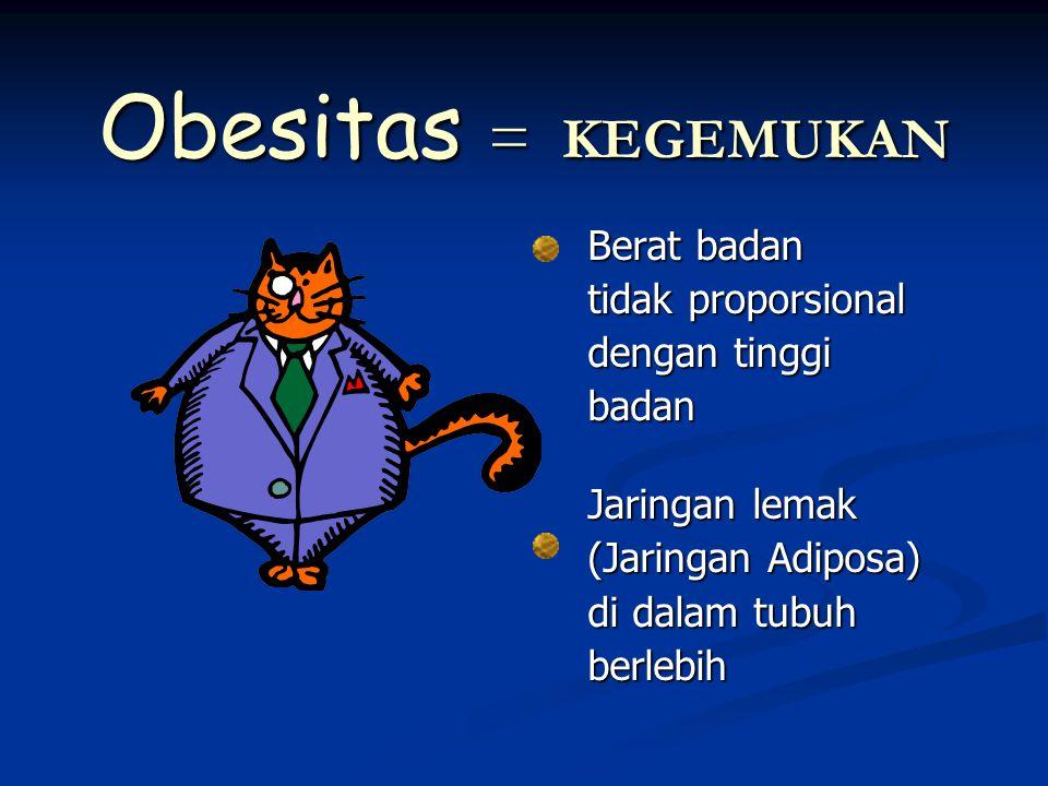 Obesitas = KEGEMUKAN Berat badan tidak proporsional dengan tinggi