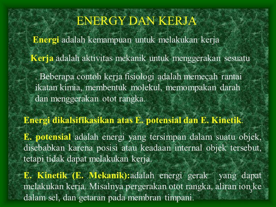 ENERGY DAN KERJA Energi adalah kemampuan untuk melakukan kerja