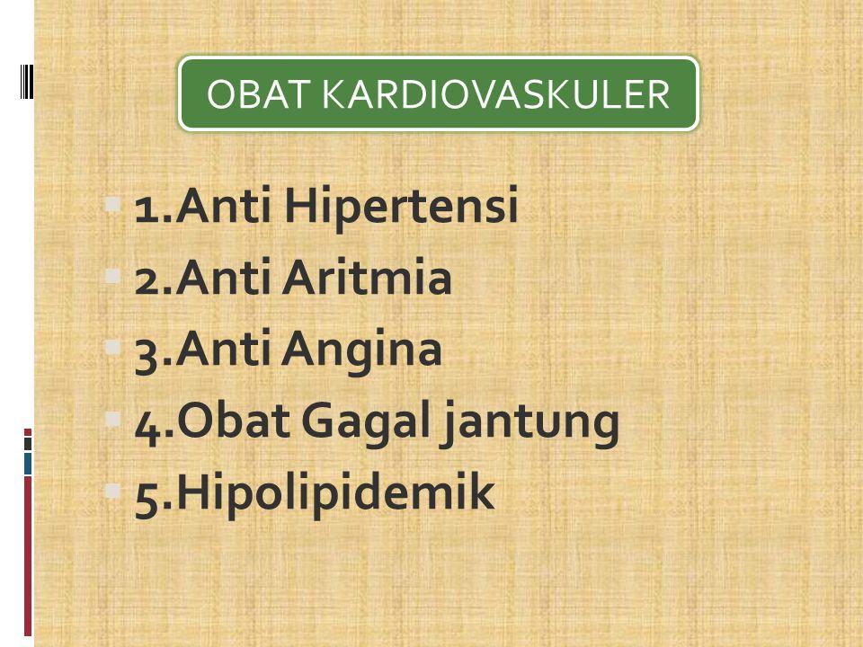 1.Anti Hipertensi 2.Anti Aritmia 3.Anti Angina 4.Obat Gagal jantung
