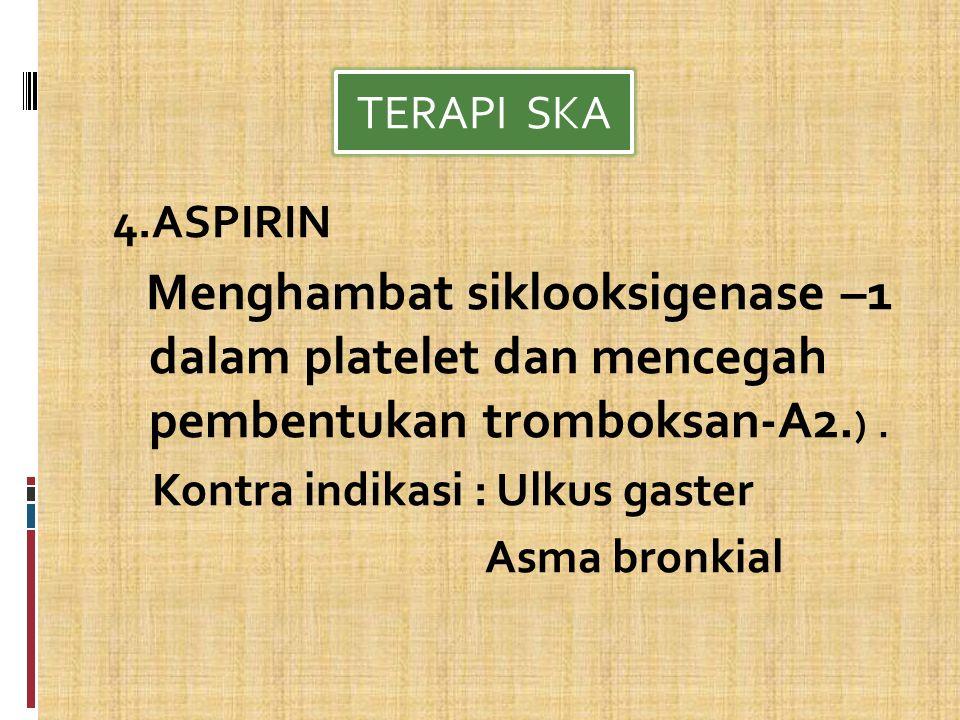 Kontra indikasi : Ulkus gaster Asma bronkial