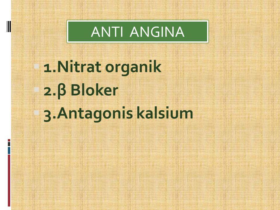 ANTI ANGINA 1.Nitrat organik 2.β Bloker 3.Antagonis kalsium