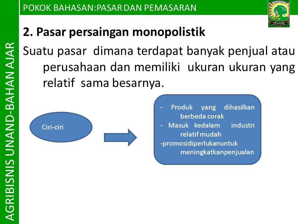 AGRIBISNIS UNAND-BAHAN AJAR 2. Pasar persaingan monopolistik