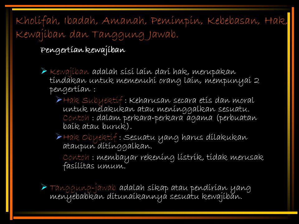 Kholifah, Ibadah, Amanah, Pemimpin, Kebebasan, Hak, Kewajiban dan Tanggung Jawab.