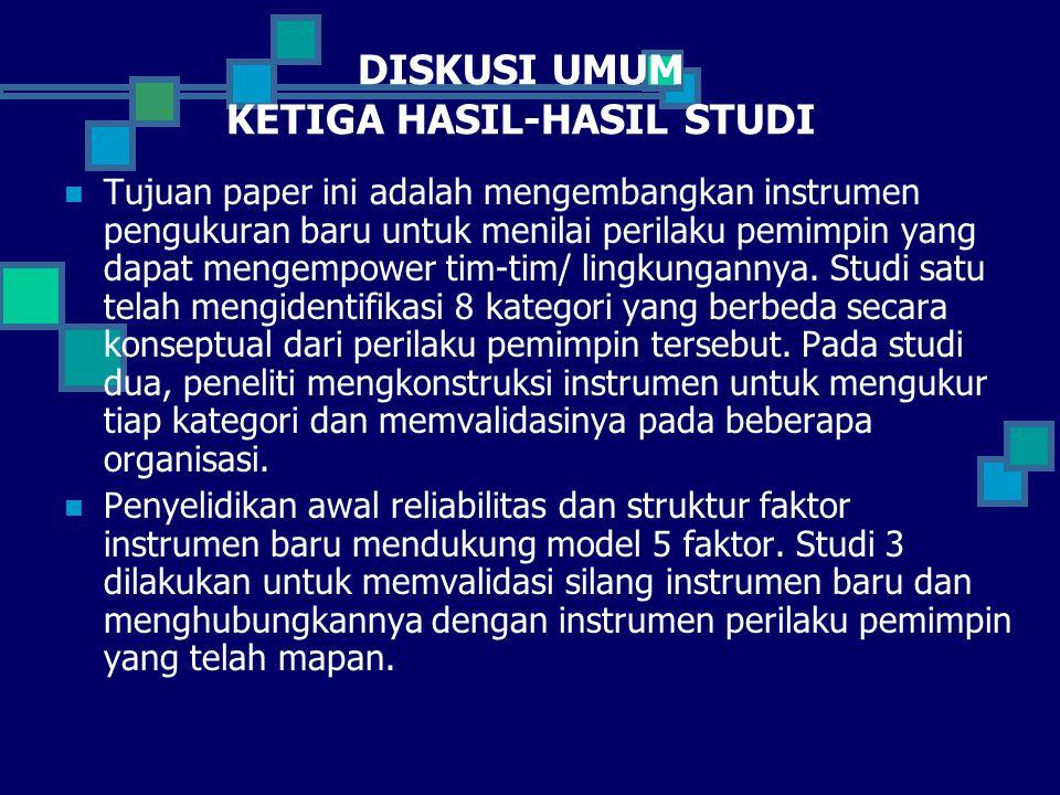 DISKUSI UMUM KETIGA HASIL-HASIL STUDI