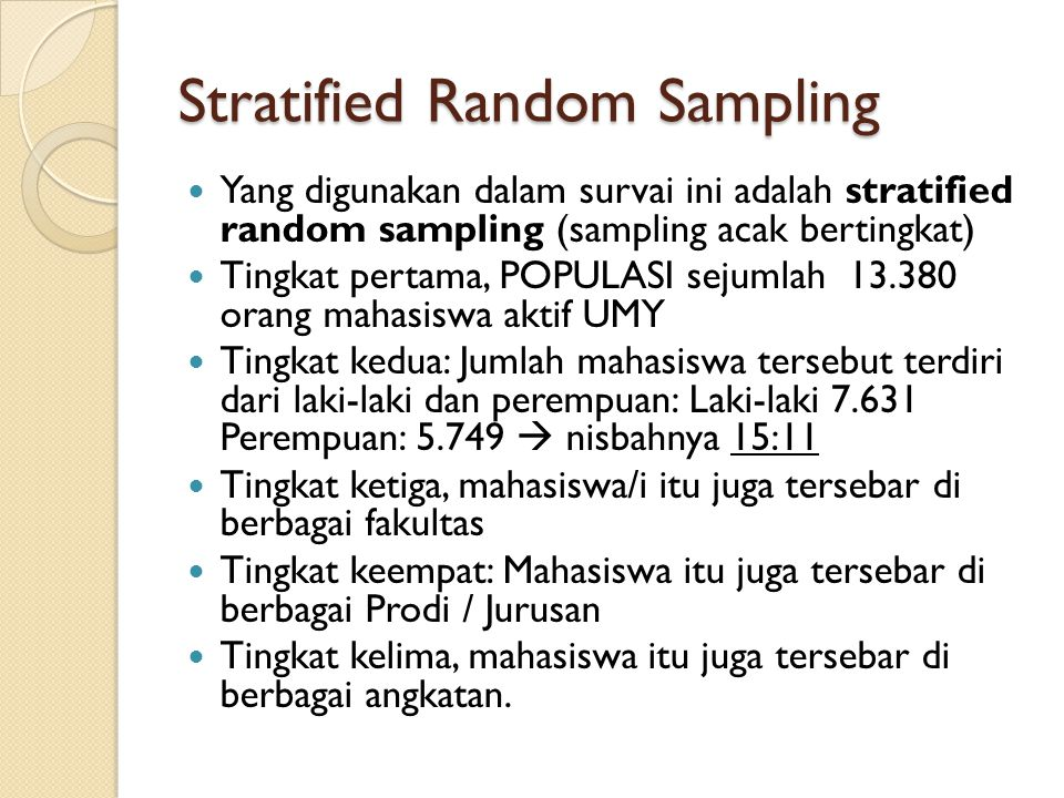 Stratified Random Sampling