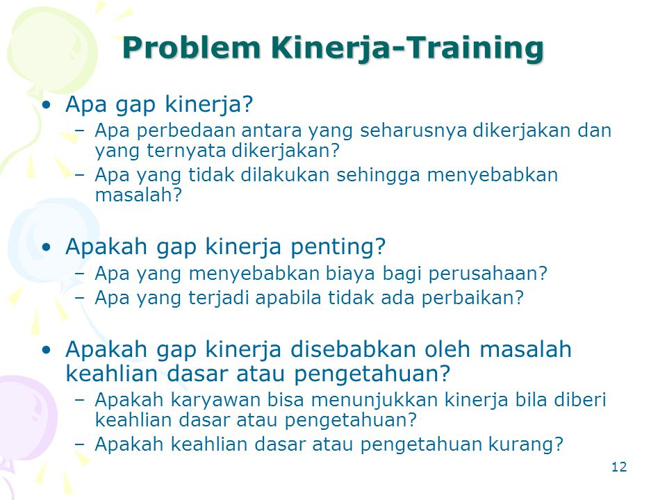 Problem Kinerja-Training
