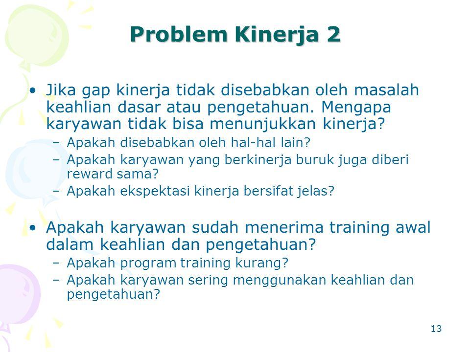 Problem Kinerja 2 Jika gap kinerja tidak disebabkan oleh masalah keahlian dasar atau pengetahuan. Mengapa karyawan tidak bisa menunjukkan kinerja