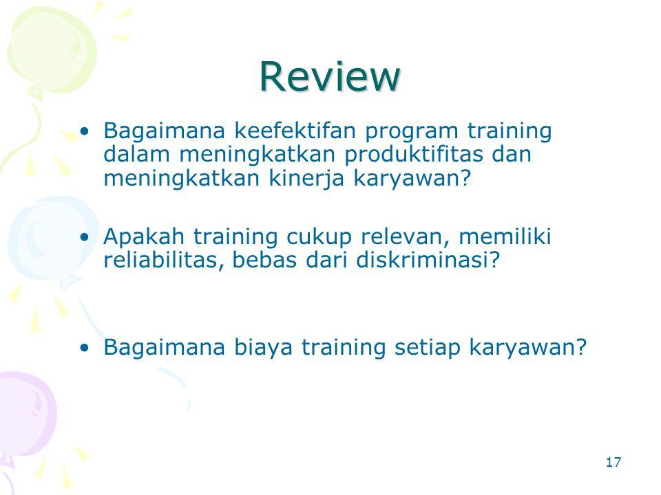 Review Bagaimana keefektifan program training dalam meningkatkan produktifitas dan meningkatkan kinerja karyawan