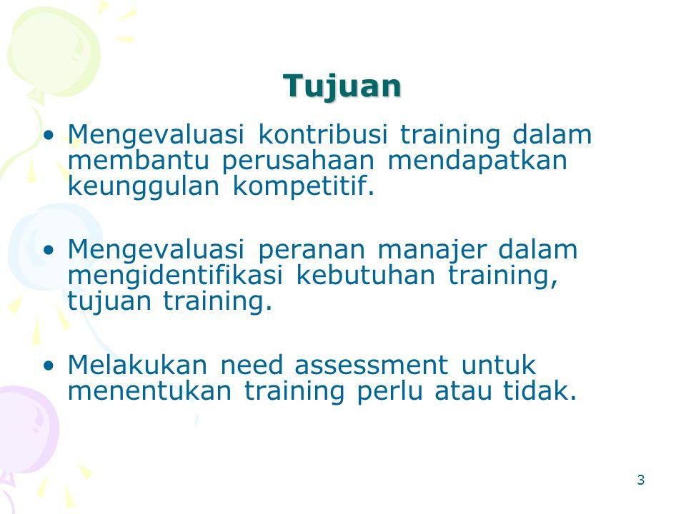 Tujuan Mengevaluasi kontribusi training dalam membantu perusahaan mendapatkan keunggulan kompetitif.