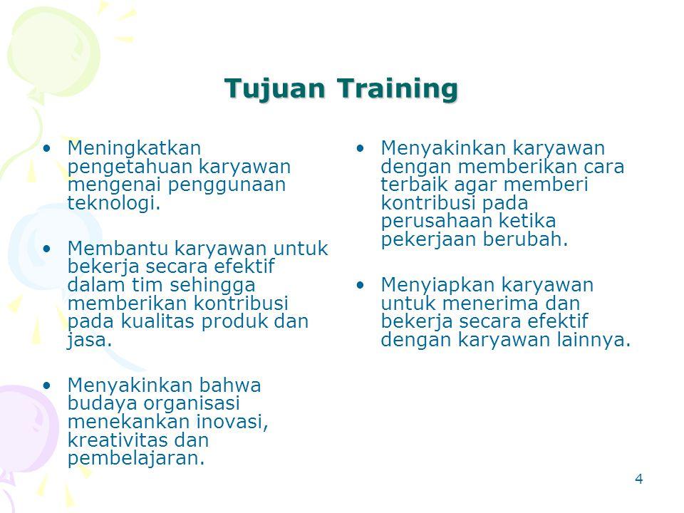 Tujuan Training Meningkatkan pengetahuan karyawan mengenai penggunaan teknologi.