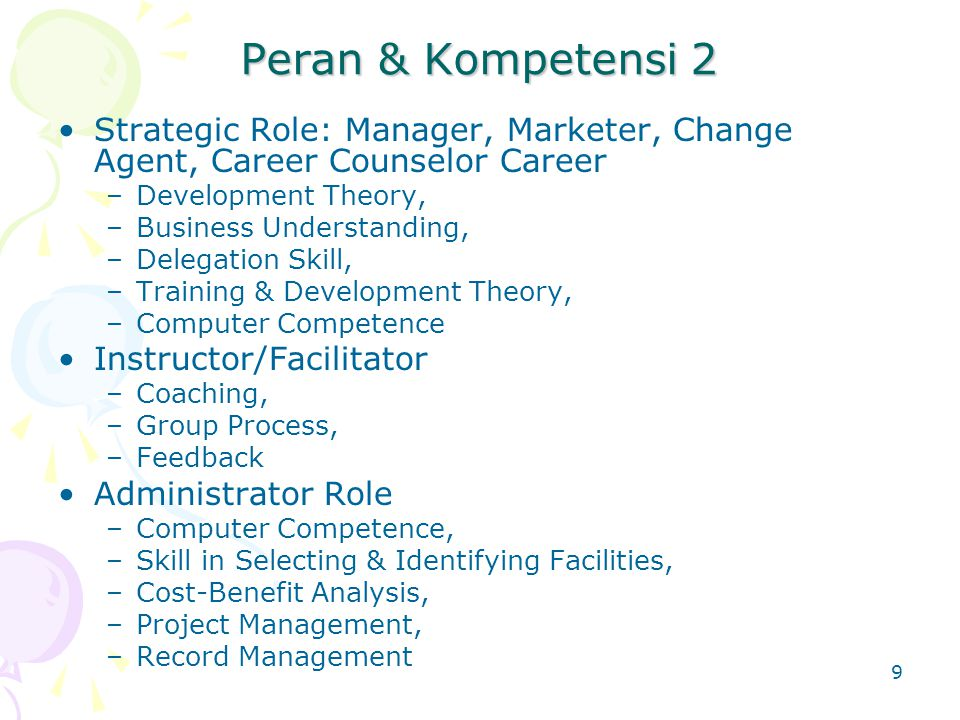 Peran & Kompetensi 2 Strategic Role: Manager, Marketer, Change Agent, Career Counselor Career. Development Theory,