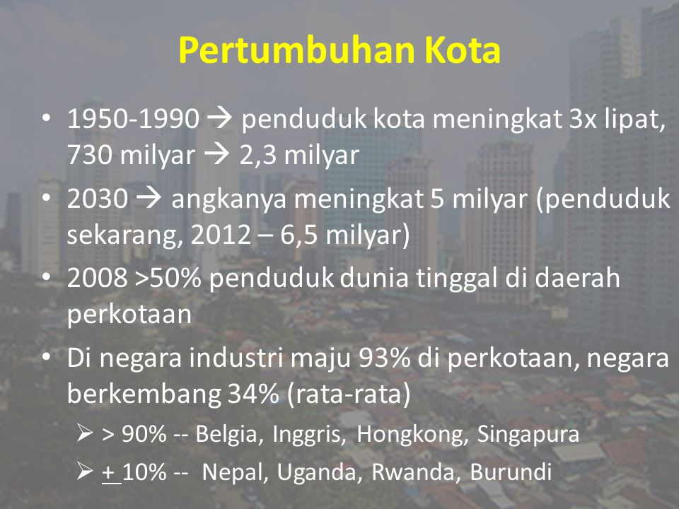 Pertumbuhan Kota 1950-1990  penduduk kota meningkat 3x lipat, 730 milyar  2,3 milyar.