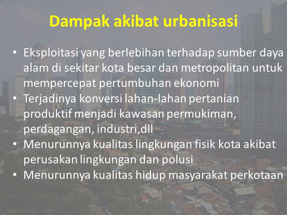 Dampak akibat urbanisasi