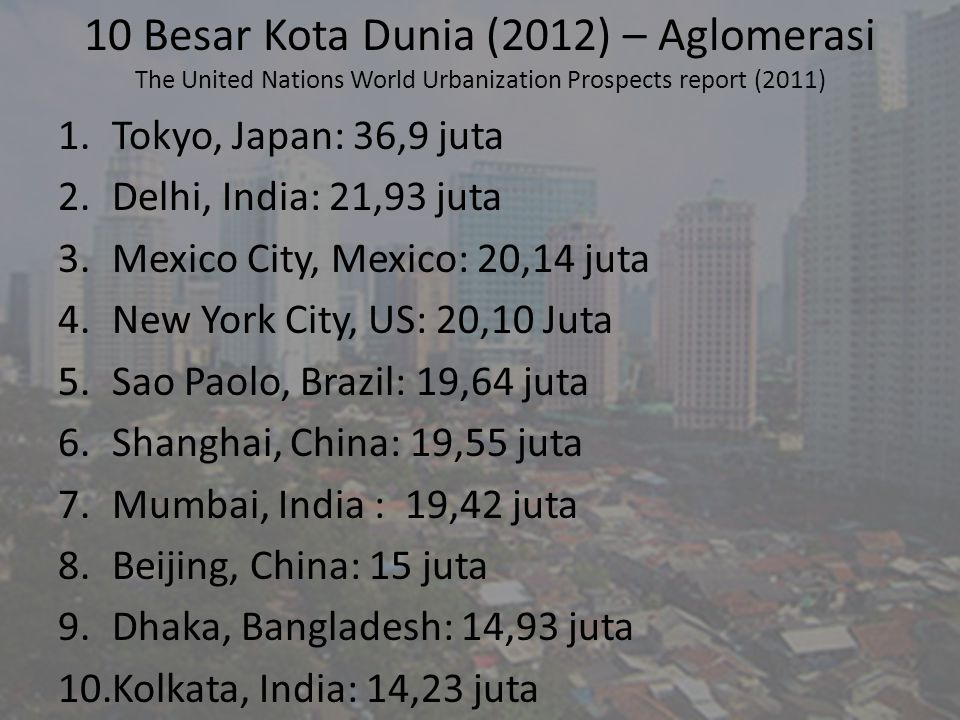 10 Besar Kota Dunia (2012) – Aglomerasi The United Nations World Urbanization Prospects report (2011)