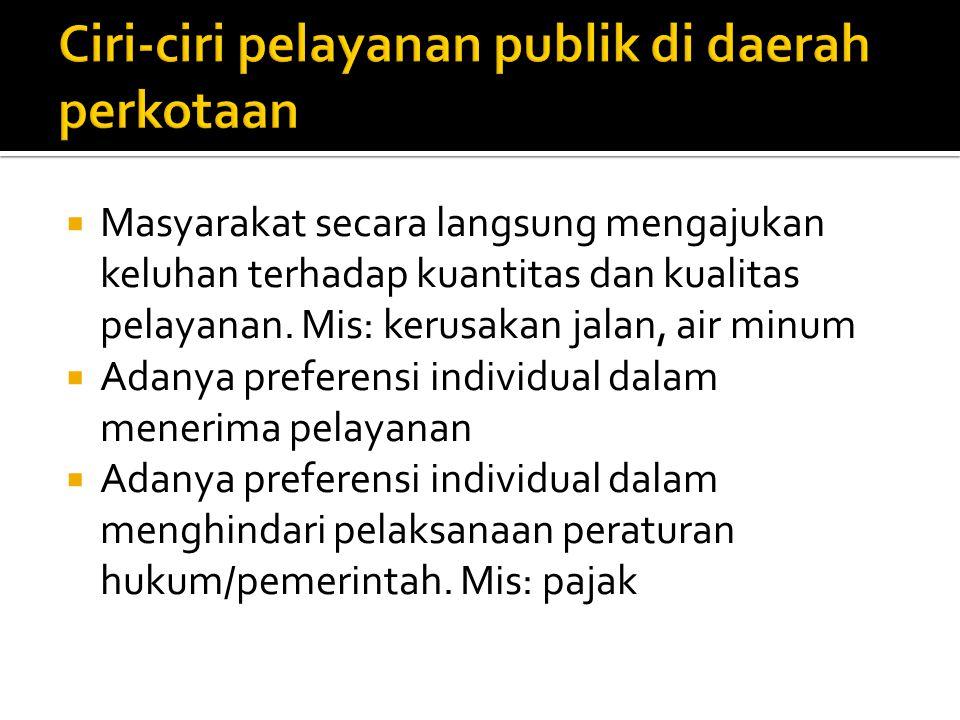 Ciri-ciri pelayanan publik di daerah perkotaan