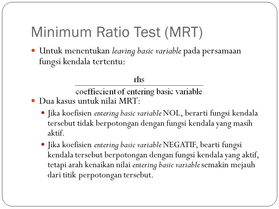 Minimum Ratio Test (MRT)