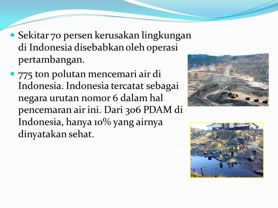 Sekitar 70 persen kerusakan lingkungan di Indonesia disebabkan oleh operasi pertambangan.