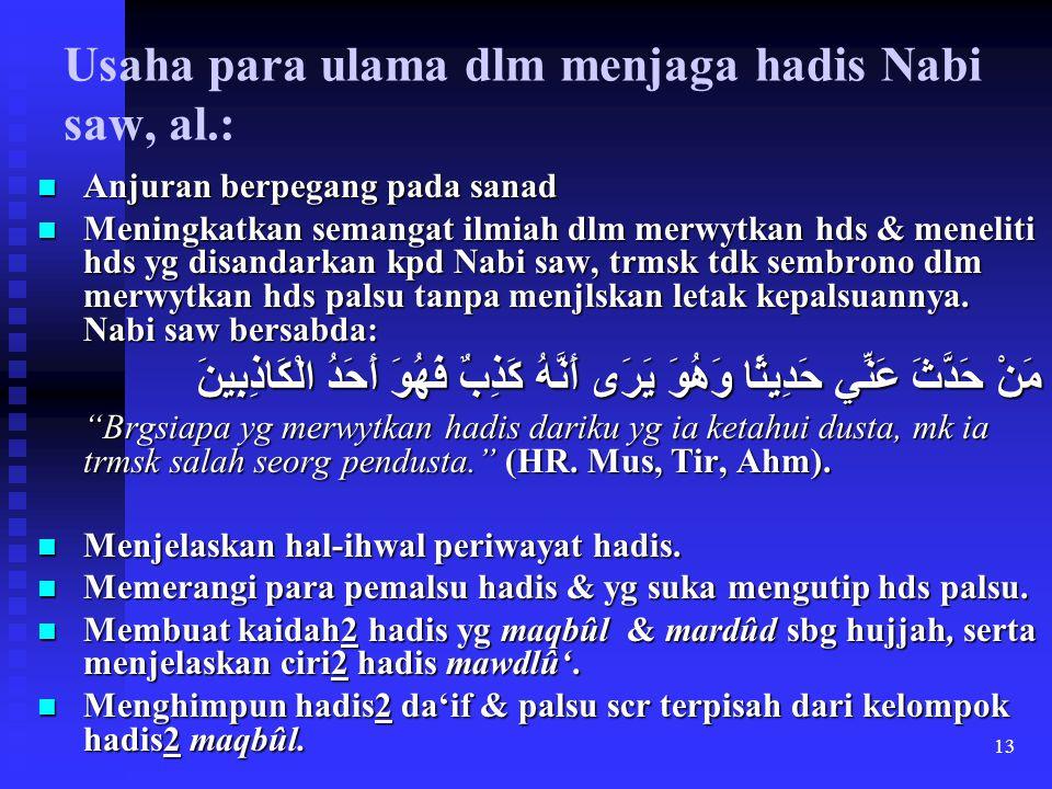 Usaha para ulama dlm menjaga hadis Nabi saw, al.: