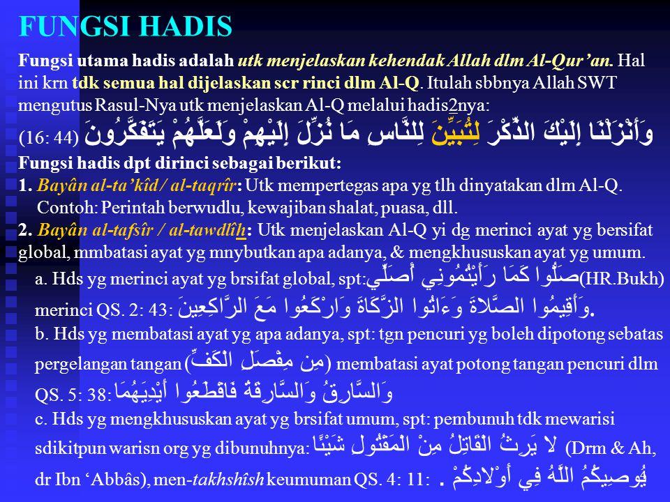 FUNGSI HADIS