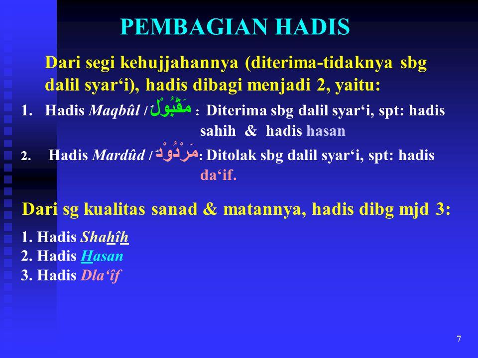 PEMBAGIAN HADIS Dari segi kehujjahannya (diterima-tidaknya sbg dalil syar'i), hadis dibagi menjadi 2, yaitu:
