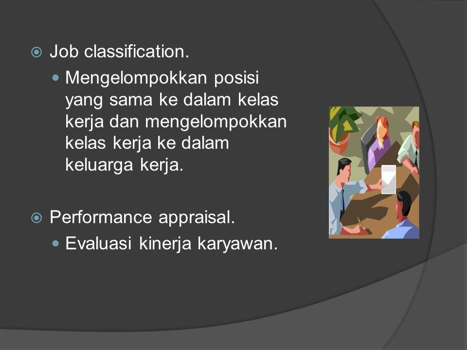 Job classification. Mengelompokkan posisi yang sama ke dalam kelas kerja dan mengelompokkan kelas kerja ke dalam keluarga kerja.