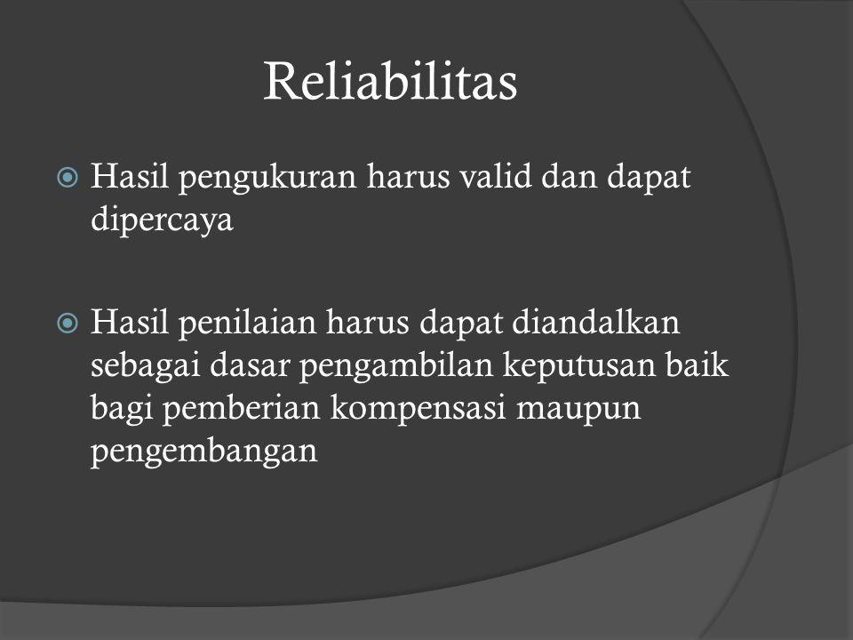 Reliabilitas Hasil pengukuran harus valid dan dapat dipercaya