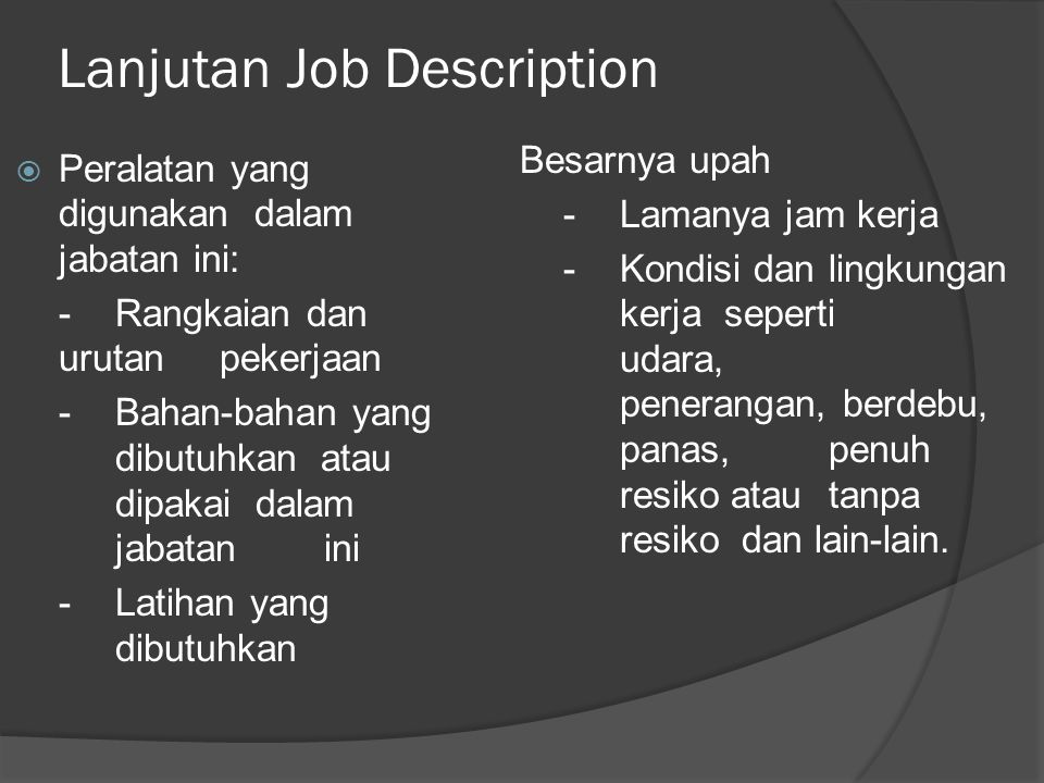 Lanjutan Job Description