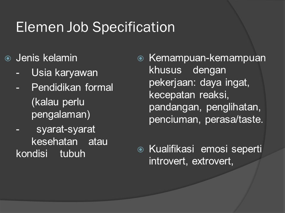 Elemen Job Specification