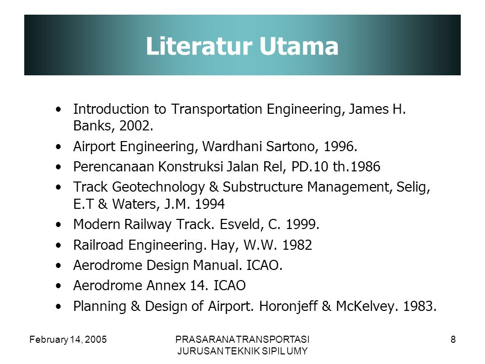 Literatur Utama Introduction to Transportation Engineering, James H. Banks, 2002. Airport Engineering, Wardhani Sartono, 1996.
