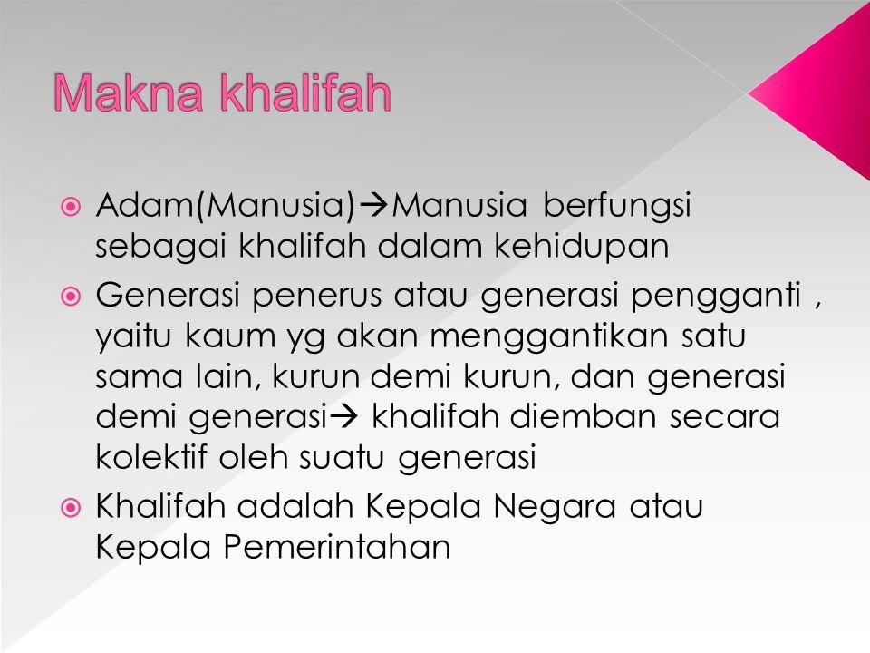 Makna khalifah Adam(Manusia)Manusia berfungsi sebagai khalifah dalam kehidupan.