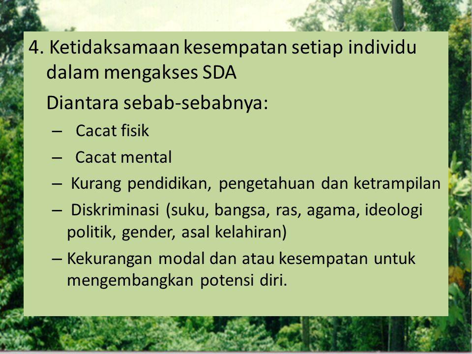 4. Ketidaksamaan kesempatan setiap individu dalam mengakses SDA