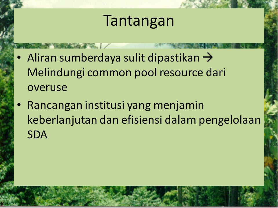Tantangan Aliran sumberdaya sulit dipastikan  Melindungi common pool resource dari overuse.