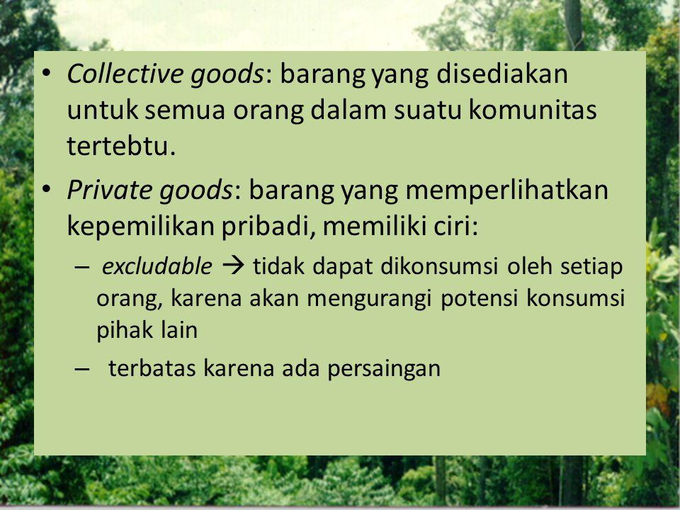 Collective goods: barang yang disediakan untuk semua orang dalam suatu komunitas tertebtu.