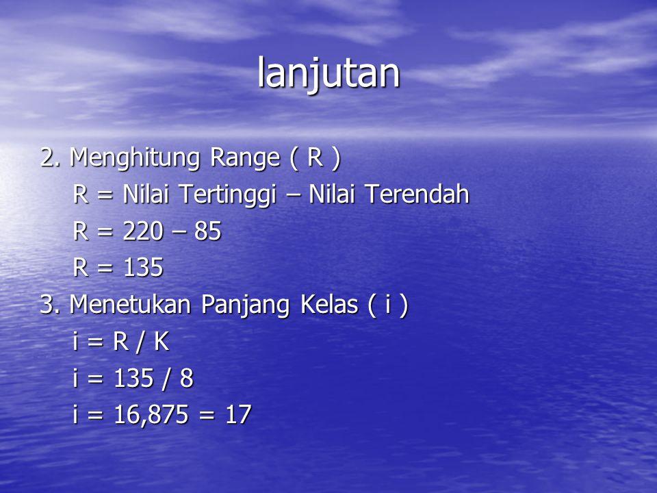 lanjutan 2. Menghitung Range ( R )