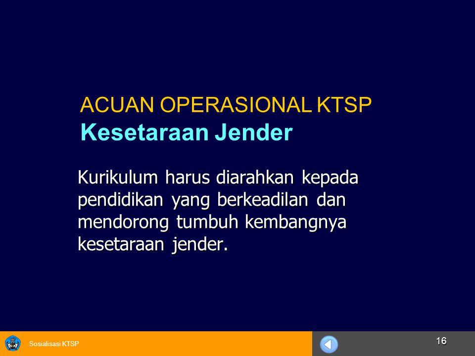 ACUAN OPERASIONAL KTSP Kesetaraan Jender