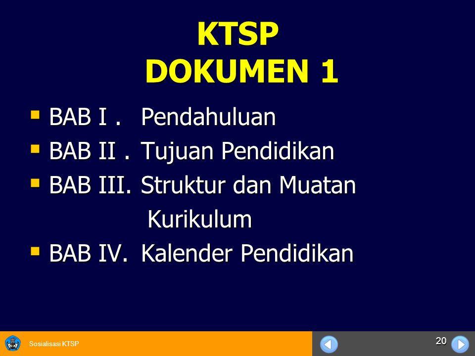 KTSP DOKUMEN 1 BAB I . Pendahuluan BAB II . Tujuan Pendidikan