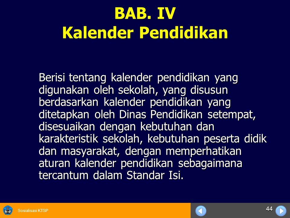 BAB. IV Kalender Pendidikan