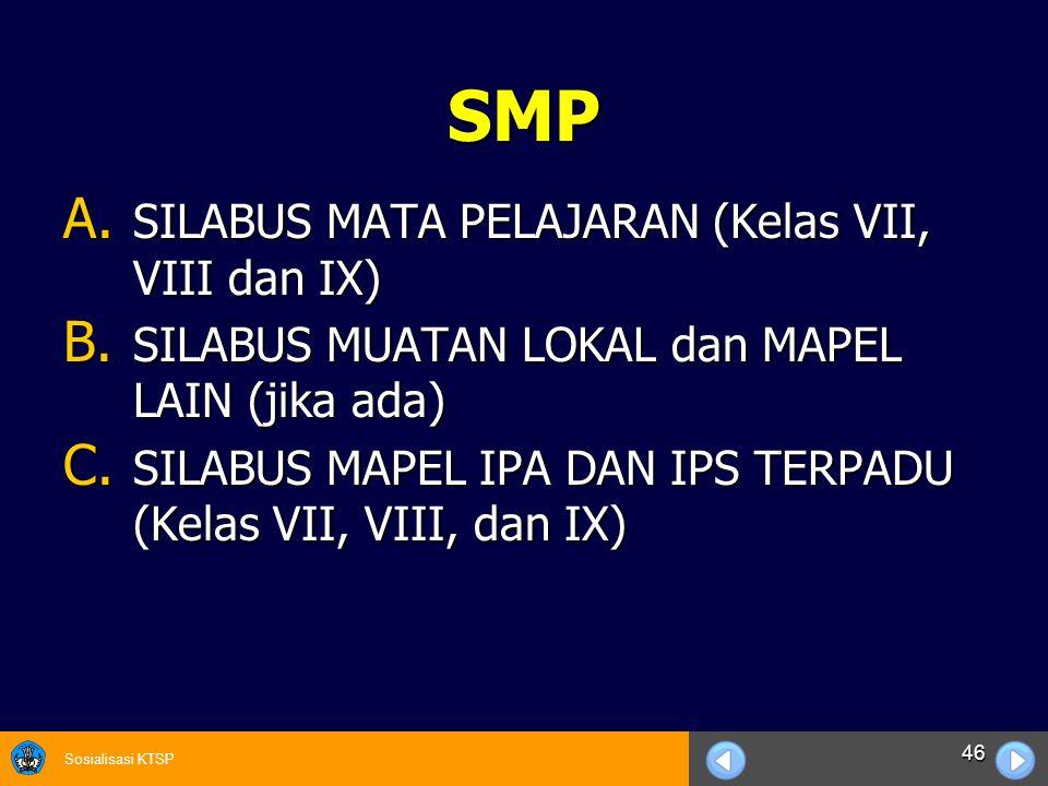 SMP SILABUS MATA PELAJARAN (Kelas VII, VIII dan IX)
