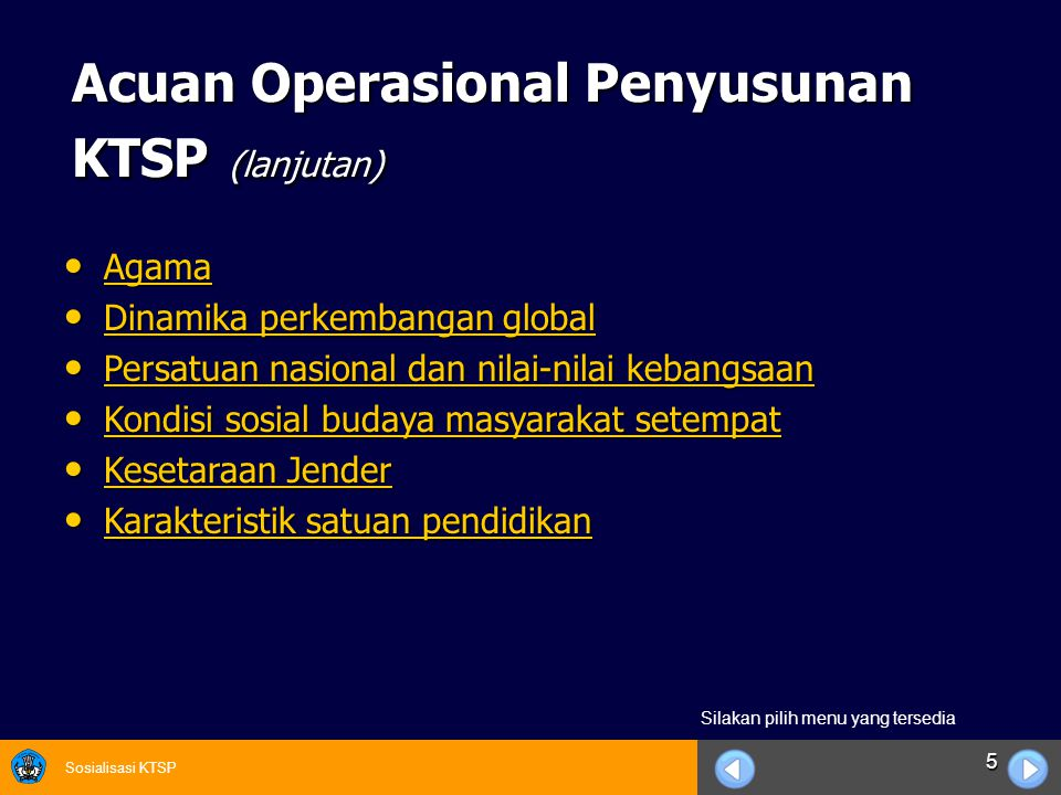 Acuan Operasional Penyusunan KTSP (lanjutan)