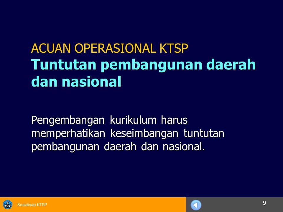 ACUAN OPERASIONAL KTSP Tuntutan pembangunan daerah dan nasional