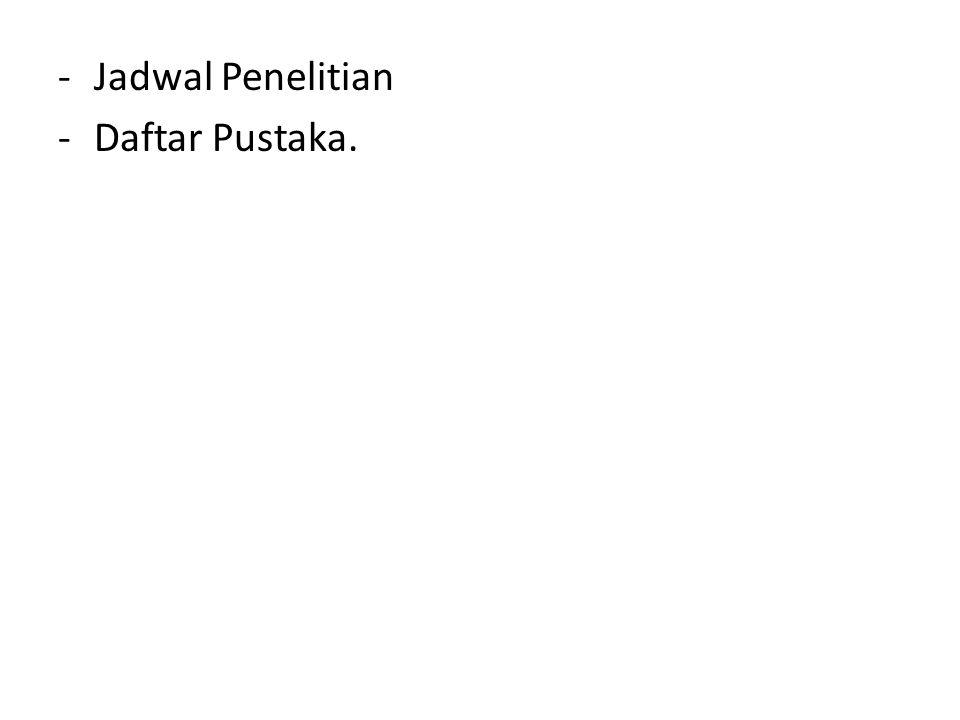 Jadwal Penelitian Daftar Pustaka.