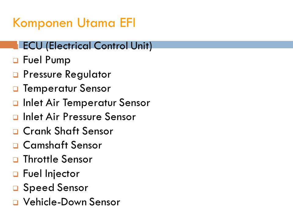 Komponen Utama EFI ECU (Electrical Control Unit) Fuel Pump